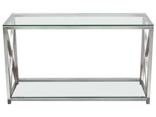X Faxtor console table with glass top