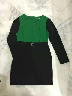 Green & black dress