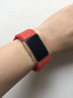 Fitbit Charge 2 Orangey Coral Red Diamond Design Silicone Straps in 'S'