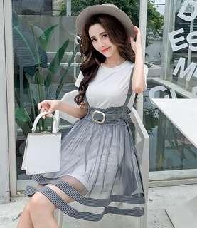 🚚 韓版甜美减龄學院風短袖連身裙格子拼接網紗蓬蓬吊帶裙【E1002】