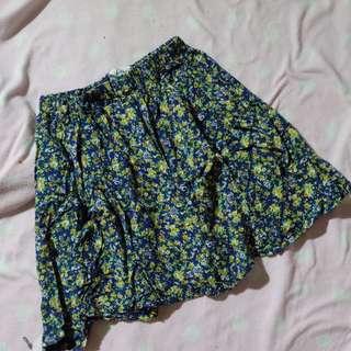 Blue Green Floral Skirt