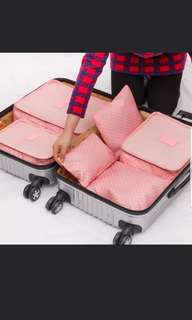 [Instock] 6 Piece Travel Organizer In Pink Polka Dots