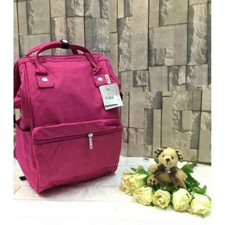 Authentic Original Anello Japan 2-Way Casual Backpack Polyester Canvas Travel Bag Unisex Backpack Rucksack Pink (LARGE)