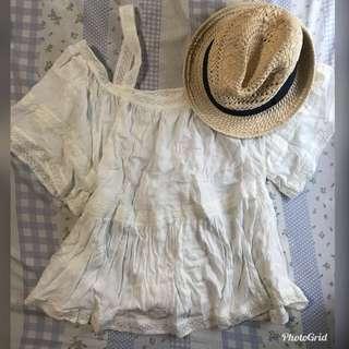 米白色罩衫上衣