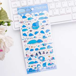 Jinbei-san Dark Blue with Gold Foil Scrapbook / Planner Stickers #159
