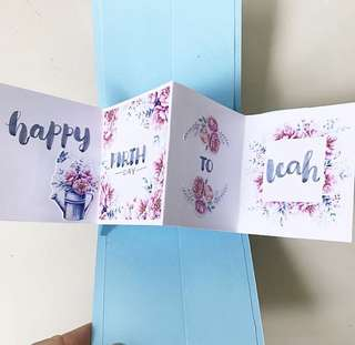 🚚 Twist and pop handmade flowery Birthday card