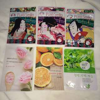 6pcs assorted face mask