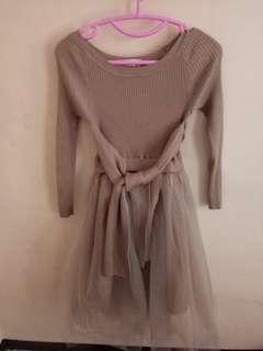 Tulle combi knit dress