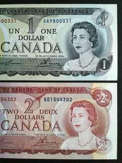1973-74 Canada x2 Banknotes.