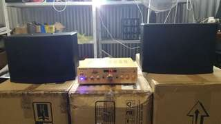 "Mid Season Sales Brand New Compact Size Red Gold Karaoke Amplifier with a pair of 6.5"" Karaoke Speaker"