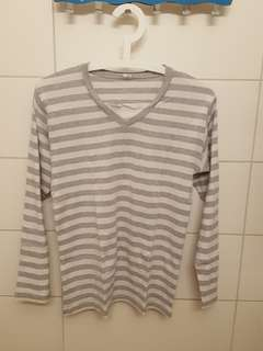 T-SHIRT LONG SLEEVE striped grey white