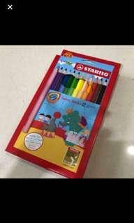 Brand New In Box Stabilo Swans Jumbo 12 Coloured Pencils