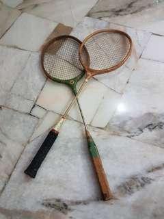 Vintage wooden frame badminton racket