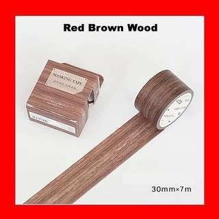 🚚 Washi Tape (Red Brown Wood)