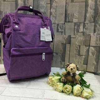 Authentic Original Anello Japan 2-Way Casual Backpack Polyester Canvas Travel Bag Unisex Backpack Rucksack Violet (LARGE)