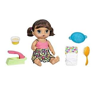 BN Baby Alive Super Snacks Snackin' Noodles Baby Doll Toy Set with Accessories (Brunette)