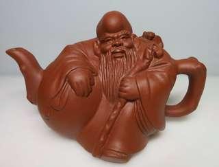 🚚 「老茗器」紫砂壺~紫砂 早期老壽翁巧思壺 單孔出水 插銷式壺蓋 350CC
