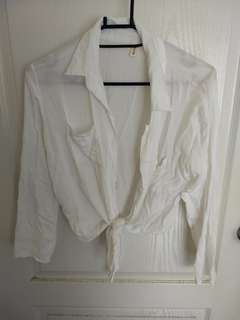 🚚 100%棉綁帶小外套襯衫s-m號