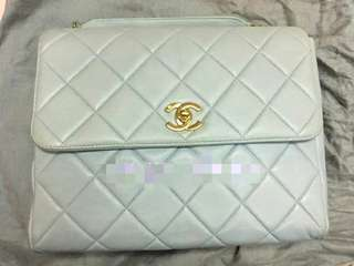Vintage Chanel粉藍色羊皮金扣Kelly bag 23x18x9cm