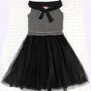 Dress chicgirl hitam tutu salur stripe
