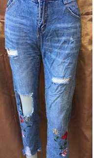 Cute Tattered & Patch Jeans