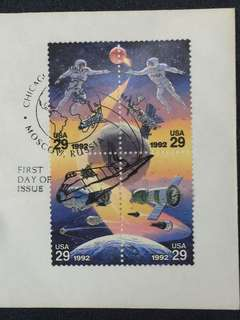 US 1992 Space Accomplishments Se-Tenant Pane 4 FDC Stamps