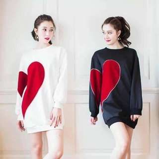 Heart Print Pull over Jacket
