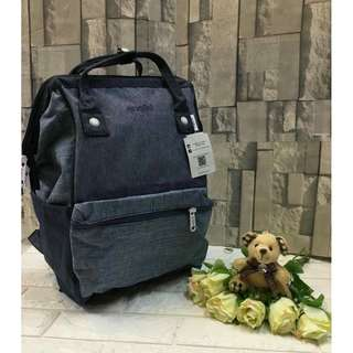 Authentic Original Anello Japan 2-Way Casual Backpack Polyester Canvas Travel Bag Unisex Backpack Rucksack Dark Gray (LARGE)
