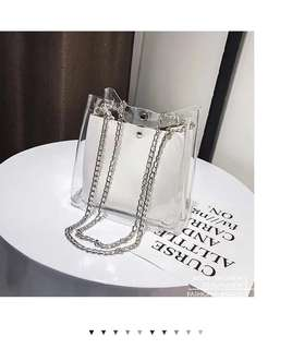Transparent bag with inner