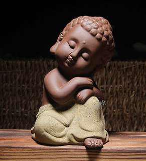 Little Thinking Buddha Zisha Purple Clay Statue #SINGLES1111
