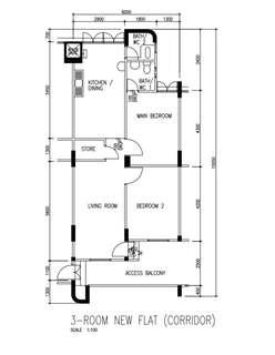 3 Room (Corridor) HDB flat