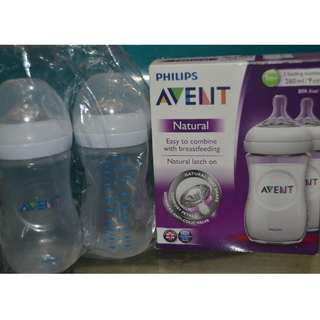 2 pcs Avent Natural Bottles 9oz