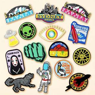 #252 sydney bridge eagle ailen astronaunt no face anime pelican wolf tumblr iron on patch | po