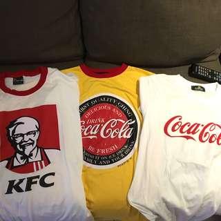 tshirt cocacola, mcd, kfc, etc