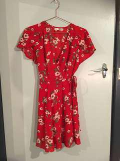 Whoami red floral wrap dress