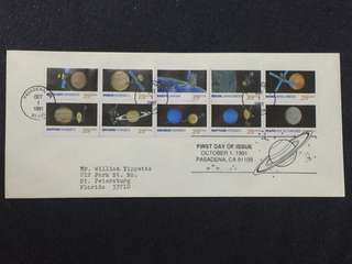 US 1991 Space Exploration Se-Tenant Pane10 Set FDC Stamps