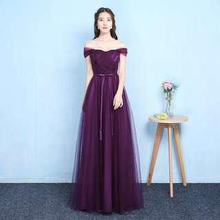 Dark Purple Off Shoulder Mesh Long Maxi  Bridesmaid Evening Dinner Dress Gown