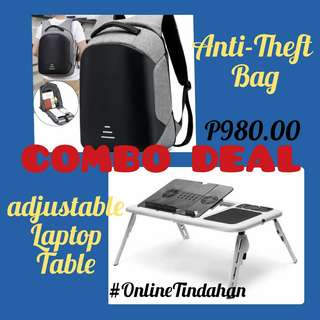 Anti-Theft Bag plus Laptop Table Combo Deal