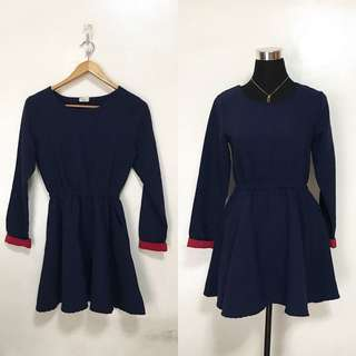 Navy Blue Long Sleeves Skater Dress