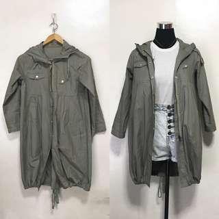 Gray Parka Jacket Coat with Hood