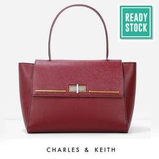 CHARLES & KEITH TOP HANDLE SATCHEL (BURGUNDY) CNK184