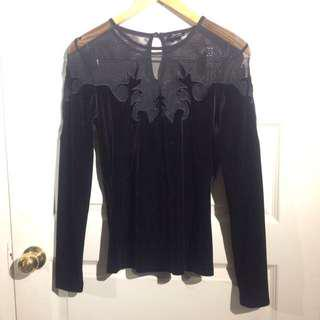 Bardot gothic Vintage Style Black Velvet Top