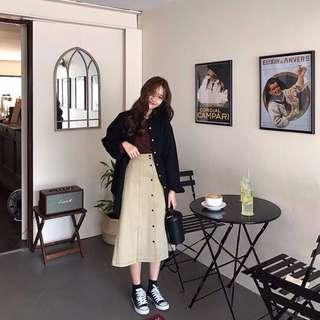 韓國 麻料中長裙