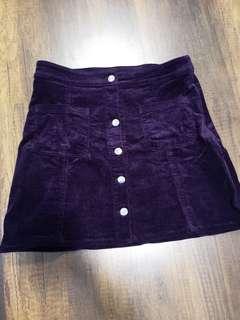 H&m velvet purple button down skirt