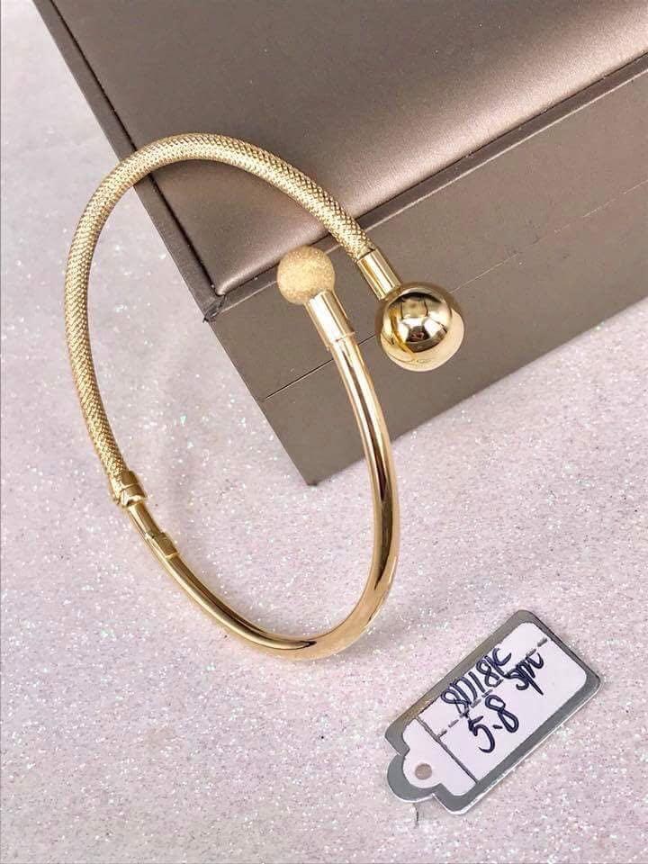 c97f2c3f1 18K|750 Ladies Bangle Bracelet Plain, Matte Balls Genuine Gold ...