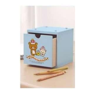 Rilakkuma 拉拉熊十週年紀念積木收納盒 木製收納盒-粉藍 (全新)
