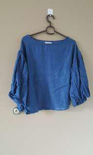 Blouse puffy sleeve  (blue)