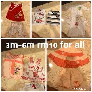 3m -6m bundle combo pyjamas top dress romper