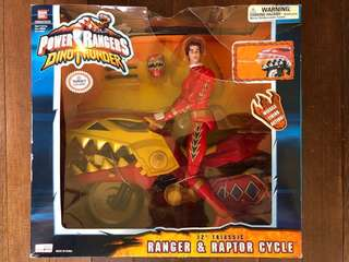 """Bandai Power Rangers Action Figure 12"""" Triassic Ranger and Raptor Cycle"""