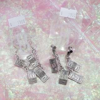 美金鈔票造型耳環/耳夾